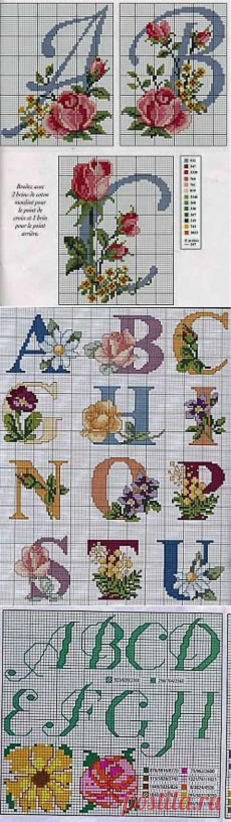 Вышивка крестиком-Цветочные алфавиты.