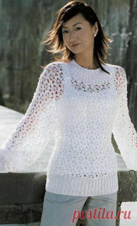 Вязаный крючком пуловер   Рукоделие и вязание