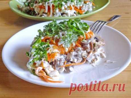 Оргазм салат с жареными шампиньонами рецепт с фото пошагово - 1000.menu