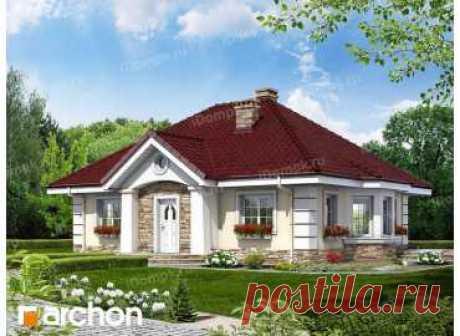 p1053ge – проект одноэтажного дома 10 на 13 с эркером и террасой из газобетона