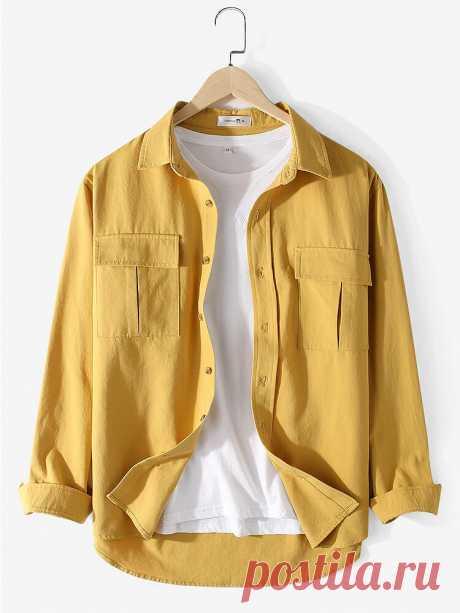 Banggood Designed Mens 100% Cotton Solid Cargo Style Long Sleeve Shirts With Fla - US$24.99