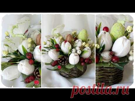 EASTER COMPOSITION in the basket: white tulips from corrugated paper and sweets — master class