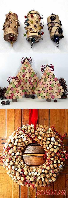 Новогодние подарки и украшения из винных пробок