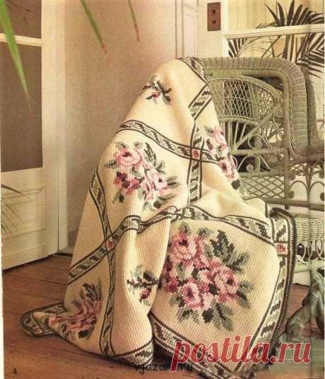 Тунисское вязание с вышивкой