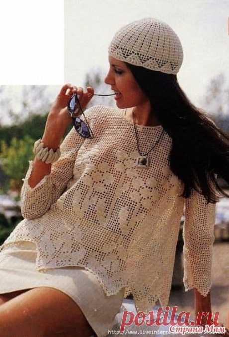 Пуловер филейным вязанием. (12) Facebook