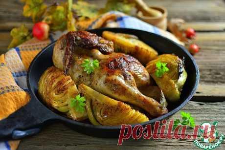 Курица запечённая с кочаном капусты