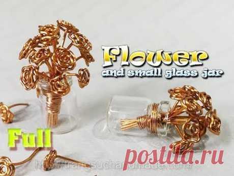 Цветок ваза кулон из медной проволоки и мини-стеклянная банка-полная версия (медленный ) 347