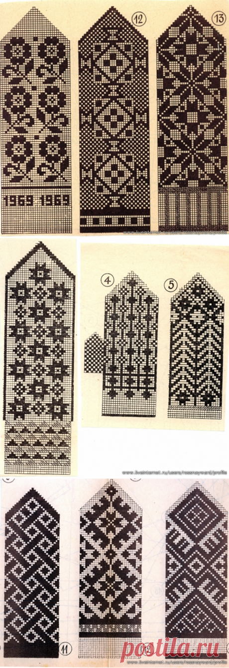 Jacquard patterns for mittens