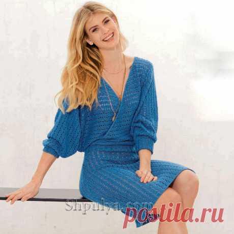 Синее платье с эффектом запаха — Shpulya.com - схемы с описанием для вязания спицами и крючком