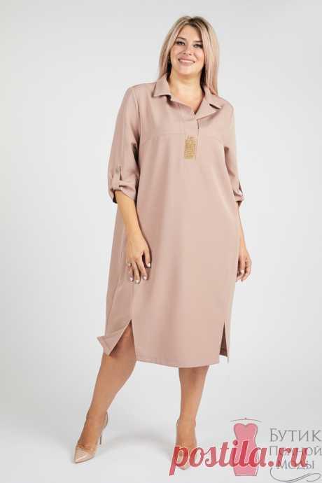 Платье большого размера 1125 Бежевый