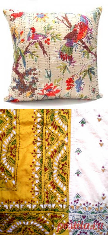 Колоритная вышивка в стиле Кантха — Делаем руками
