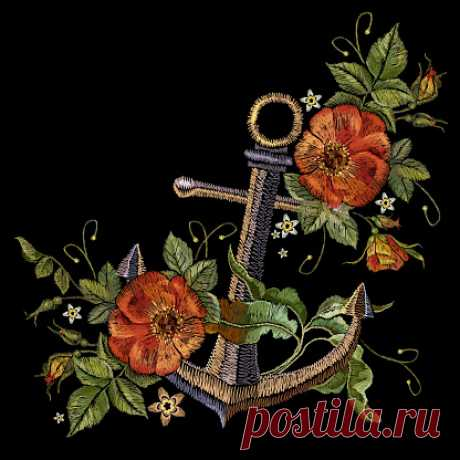 Anchor and red roses embroidery. Classical fashionable embroidery... Anchor and red roses embroidery. Classical fashionable embroidery vintage anchor and beautiful red bouquets of roses template for clothes, textile t-shirt design fashion template