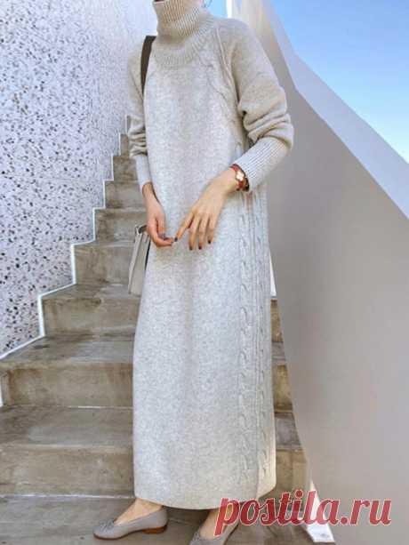 Простое повседневное свободное вязаное платье-свитер с однотонным вырезом и высоким воротом - Freeacy
