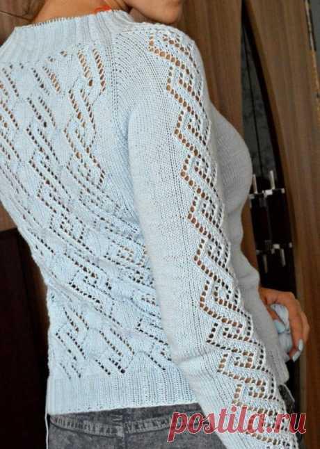 Пуловер с ажуром с схемой