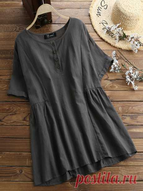 Vintage Solid Color Crew Neck Button Plus Size Shirt Your friend shared a fashion website for you and give you $60 coupons! Claim it now.