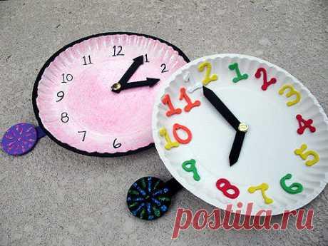 Часы - поделка своими руками из картона или бумажной тарелки | Детские игрушки и развивающие игры