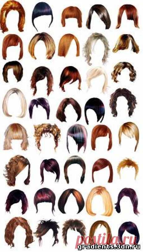 Клипарт для фотошопа Причёски, скачать бесплатно Клипарт для фотошопа Причёски без регистрации