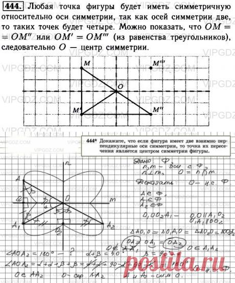 Докажите, что если фигура имеет две взаимно перпендикулярные оси симметрии, то точка их пересечения является центром симметрии фигуры.