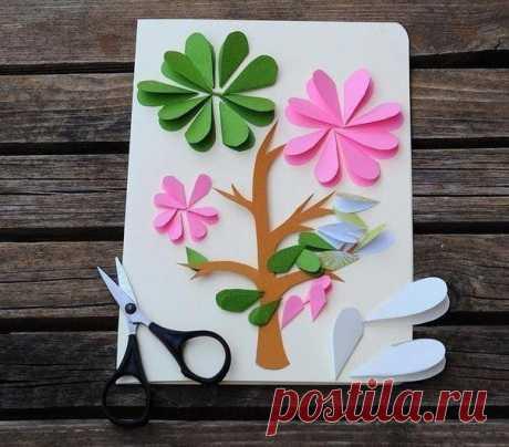 Идея для творчества с детьми. цветочная открытка. — Поделки с детьми