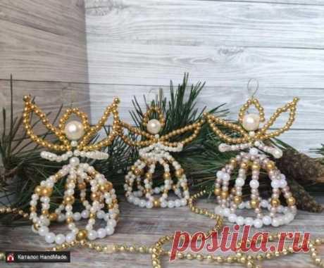 Ангелочки из бисера украшения для елки ручная работа ручной работы купить в Минске и Беларуси, цены на HandMade