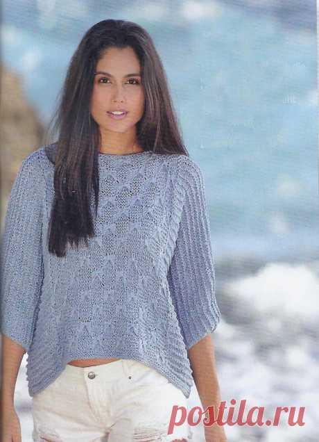 ВСЕ СВЯЗАНО. ROSOMAHA.: Летний пуловер из ленточной пряжи.