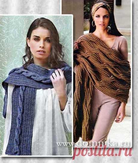 Вязаный шарф с косой - схемы вязания шарфа спицами и описание
