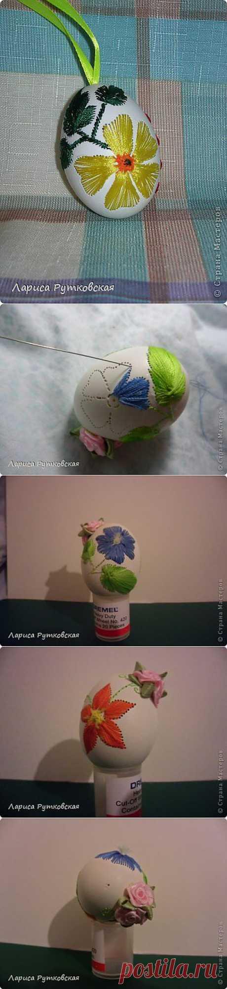 Как вышивать на куриных яйцах.
