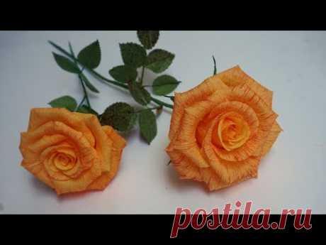 FLOR DE PAPEL CREPE - Cómo hacer Rosa - Flores de papel /hermosas Rosas de papel/manualidades