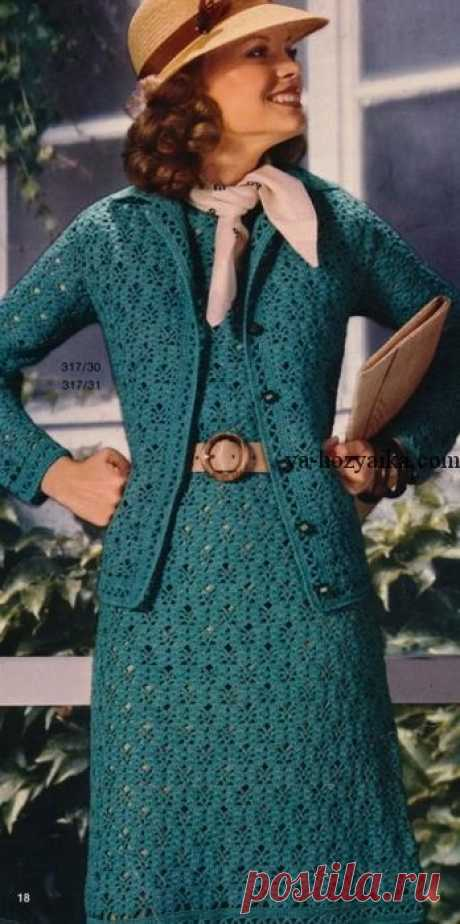 Set dress and jacket hook. A women's suit a hook with schemes the Smart set from a dress and a jacket connected by a hook. Elegant model of a women's suit a hook with schemes