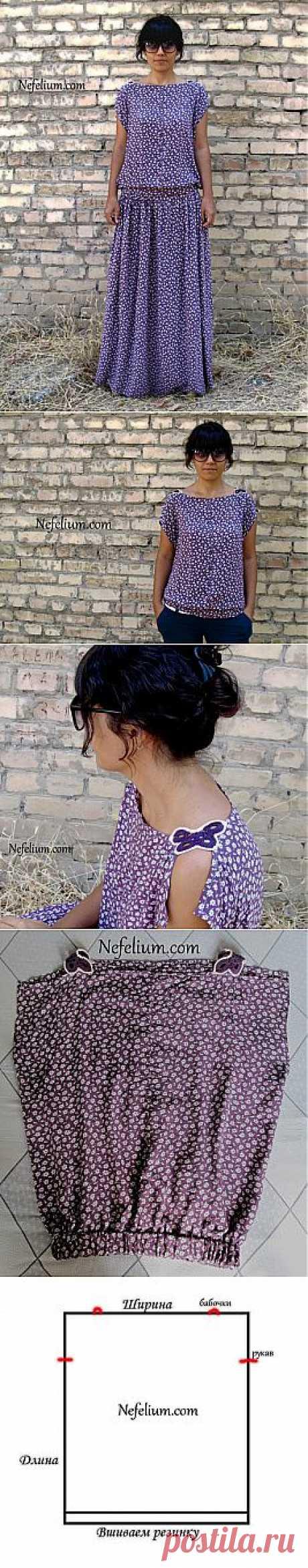 Очень простая выкройка стильного платья (Diy) / Простые выкройки /