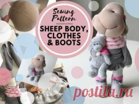 Sewing Pattern Sheep Body, Cloth & Boots, Sheep Doll Tutorial, Sheep DIY Pattern, Sheep Rag Doll, PDF Sheep Doll, Sheep Handmade by Yulia K Sheep Doll Body, Cloth and Boots Sewing Pattern for Interior Doll by master Yula K.  Pattern uncludes Sheep Doll Body, Cloth and Boots sewing tutorial.  Pattern is for 35 cm (13.7 inch) sheep doll by master Yulia K.  Pattern is made in PDF format: 19 pages, 69 photos + sewing patterns A4 size.