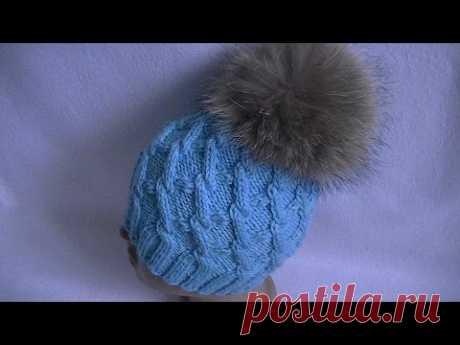 Вязание шапки узором с  ромбами.Knitting caps with rhombus pattern.