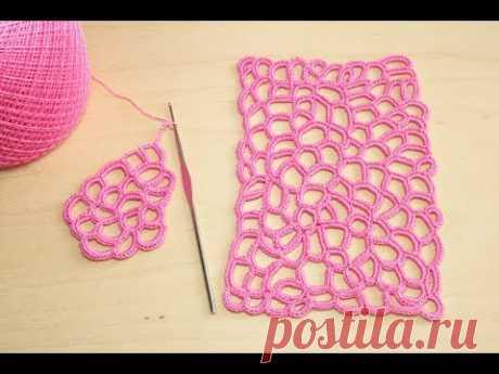 Вязание крючком УЗОР СЕТОЧКА обвязанная столбиками без накида crochet