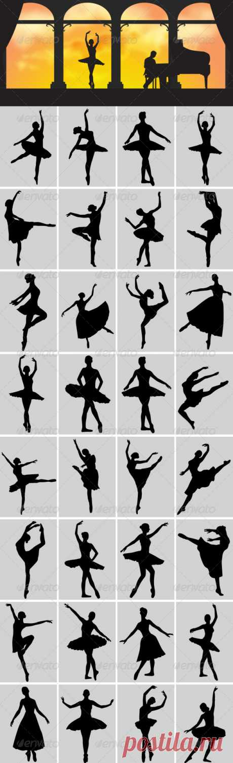 Ballerina Silhouettes by meriang | GraphicRiver