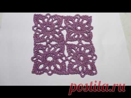 Квадратный мотив крючком. MC  crochet motif. Lesson knitting.