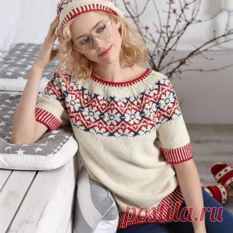 Жаккардовый свитерок с короткими рукавчиками из категории Интересные идеи – Вязаные идеи, идеи для вязания