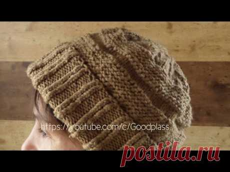 Cap knitted spokes. Knitting of a cap on circular spokes. Knitting(Hobby)