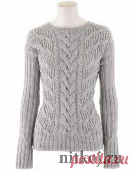 Ажурный пуловер спицами с описанием » Ниткой - вязаные вещи для вашего дома, вязание крючком, вязание спицами, схемы вязания
