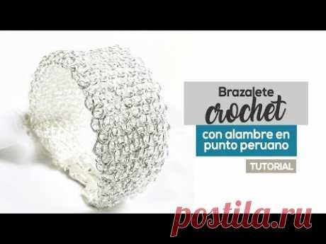 Tutorial Brazalete De Alambre Crochet Tejido en Punto Peruano 😍