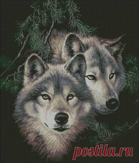 Волки. Вышивка крестом.