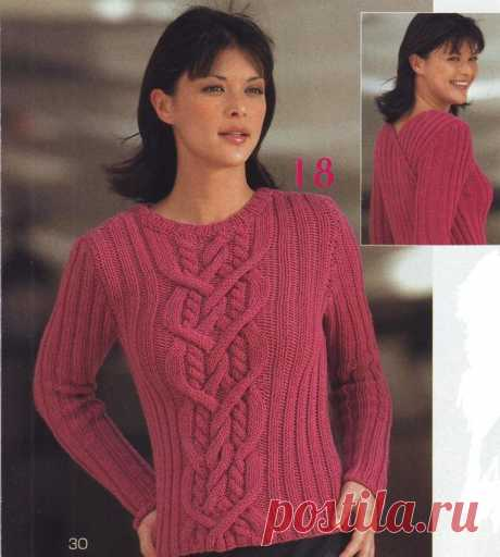 Пуловер спицами с узором по средине. Как связать свитер спицами |
