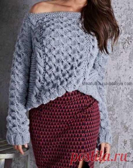 Стильный пуловер спицами. Пуловер узором коса спицами | Шкатулка рукоделия