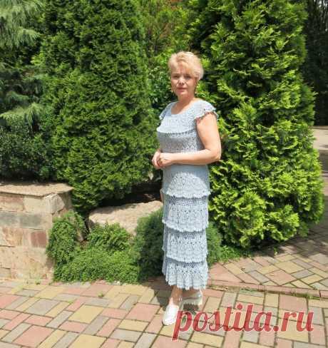 Летнее платье крючком - Морская пена - Lilia Vignan