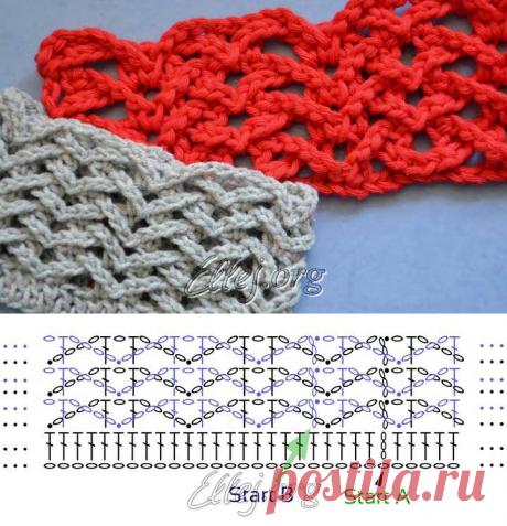 Ridge pattern of Chaika around | Crochet by Ellej | Knitting by a hook from Elena Kozhukhar