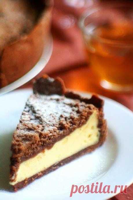Ванильный творожник на шоколадном тесте  Ингредиенты  Тесто: Показать полностью…