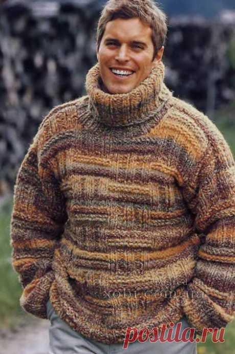теплый мужской свитер вязаный спицами в стиле кантри