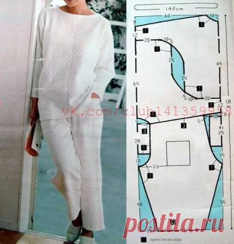 Female pajamas (longsliv with tselnokroyeny sleeves and trousers on an elastic band) - a pattern and an economical apportion on fabric.\u000d\u000a#простыевыкройки #простыевещи of #шитье #женскаяпижама #выкройка