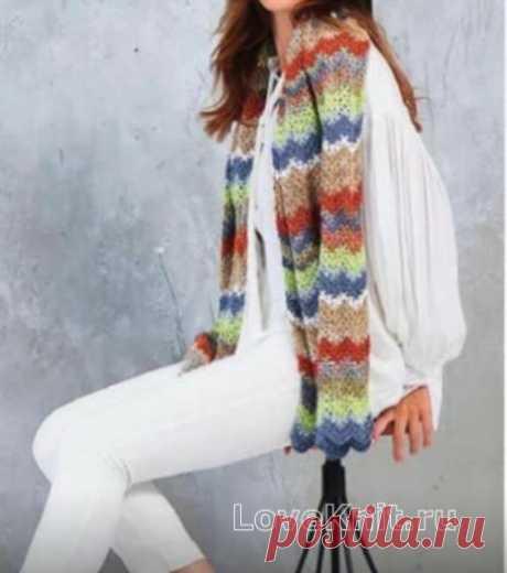 Длинный шарф с волнистым цветным узором схема крючком » Люблю Вязать