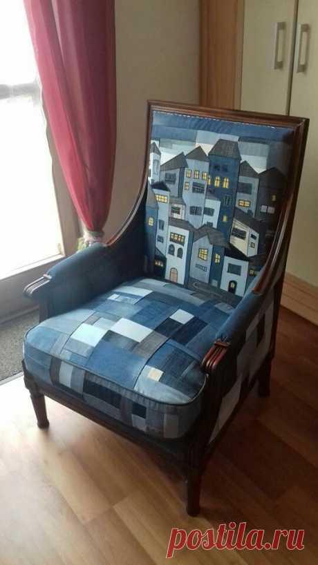 Джинсовое кресло с улицей Модная одежда и дизайн интерьера своими руками