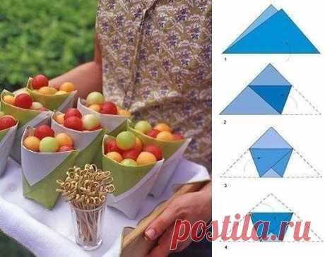 Как сложить кулечек для фруктов